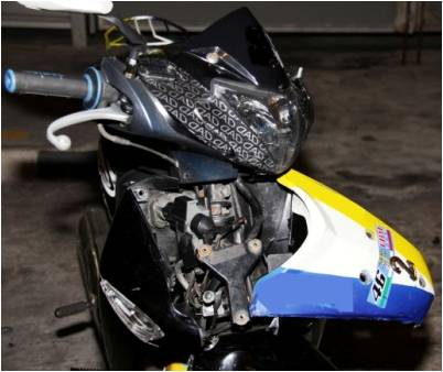 Motorcycle fender where heroin was discovered
