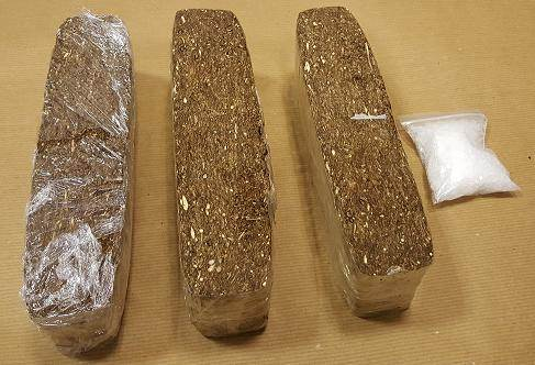 Photo 1: Cannabis and 'Ice' seized by CNB at Tuas Checkpoint on 22 June 2015