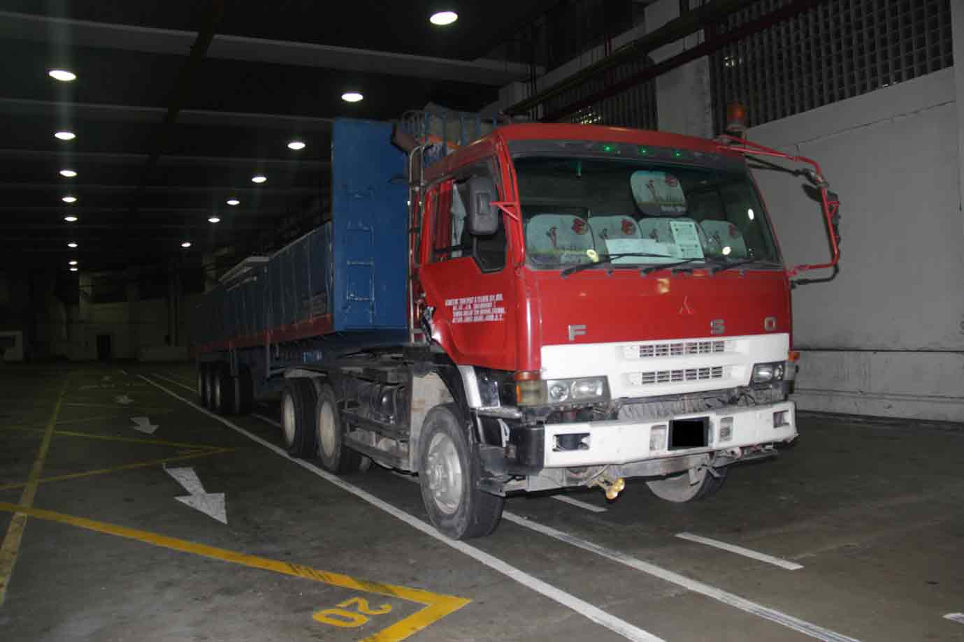 Lorry at Woodlands Checkpoint in which the drugs were found