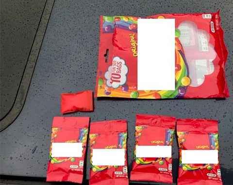 Photo of drugs concealed in candy wrappers