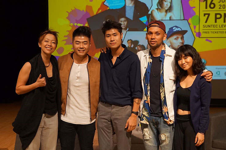 Photo 1: Red Roof Music Records producer Ruth Ling with local singers Scarlet Avenue, THELIONCITYBOY and inch Chua who will be performing in the ADAC music concert on 16 June 2017.