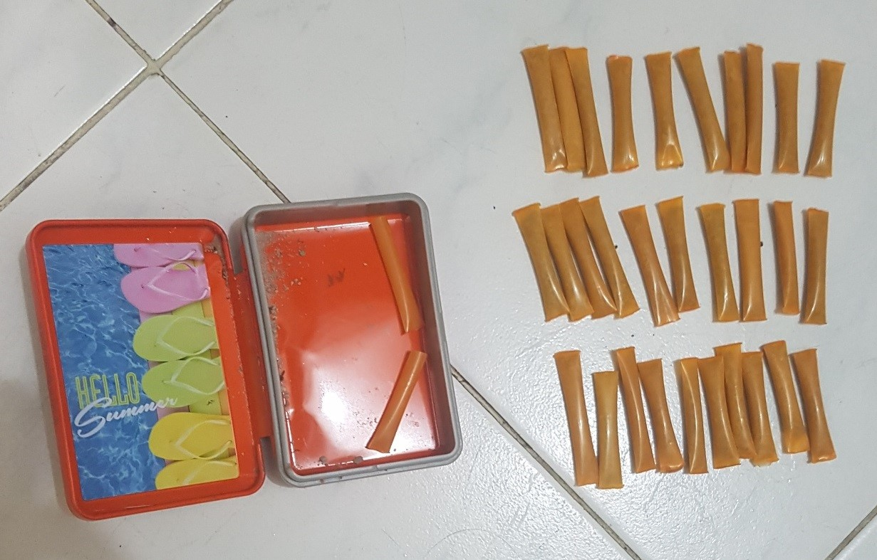 Photo-1: Straws of heroin seized during CNB's island-wide operation from 30 March to 6 April 2018