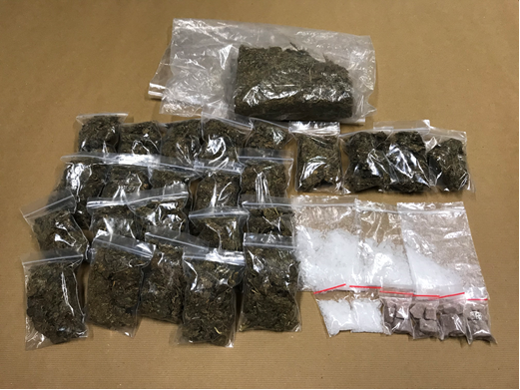 Photo-1 (CNB): Cannabis, 'Ice' and heroin seized from within a residential unit in Yishun Avenue 6 on 15 May 2018.