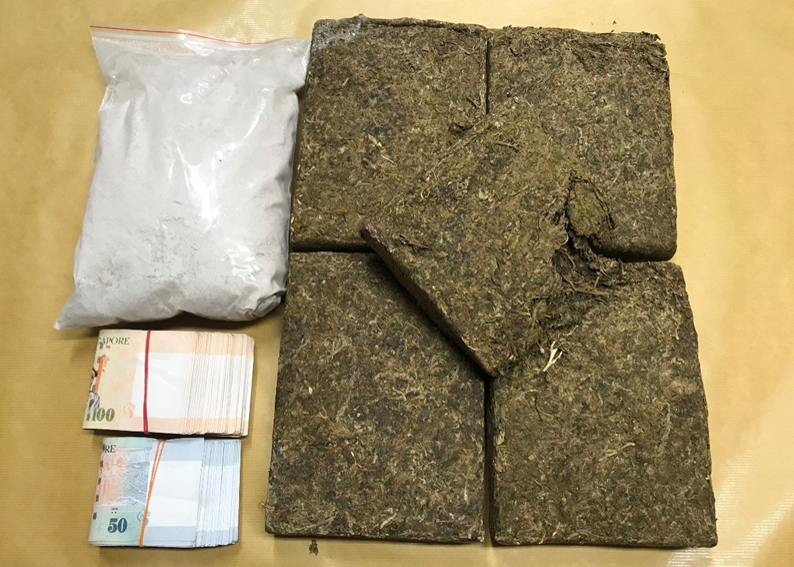 Photo-1 (CNB): Drugs and cash seized in CNB operation on 14 March 2019.