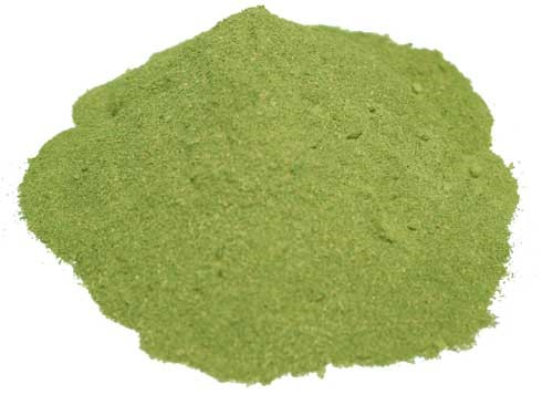 Green powdered leaf extract of Mitrogyna Speciosa