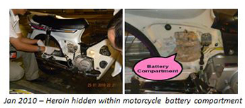 Jan 2010: Heroin hidden within motorcycle battery compartment