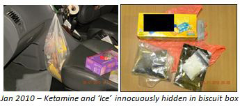 Jan 2010: Ketamine and 'Ice' hidden in biscuit box