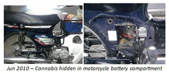 Jun 2010: Cannabis hidden in motorcycle battery compartment