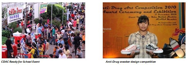 (Left) CDAC Ready for School Event; (Right) Anti-Drug sneaker design competition
