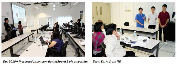 (Left) Dec 2010: Presentation by team during Round 2 of competition; (Right) Team E.L.A from ITE
