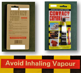 Warning label on Contact cement product packaging