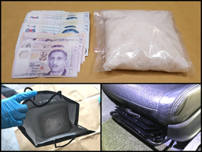 Photo-1 (CNB): Cash and 'Ice' seized in front passenger seat of car during CNB's operation on 22 April 2019.
